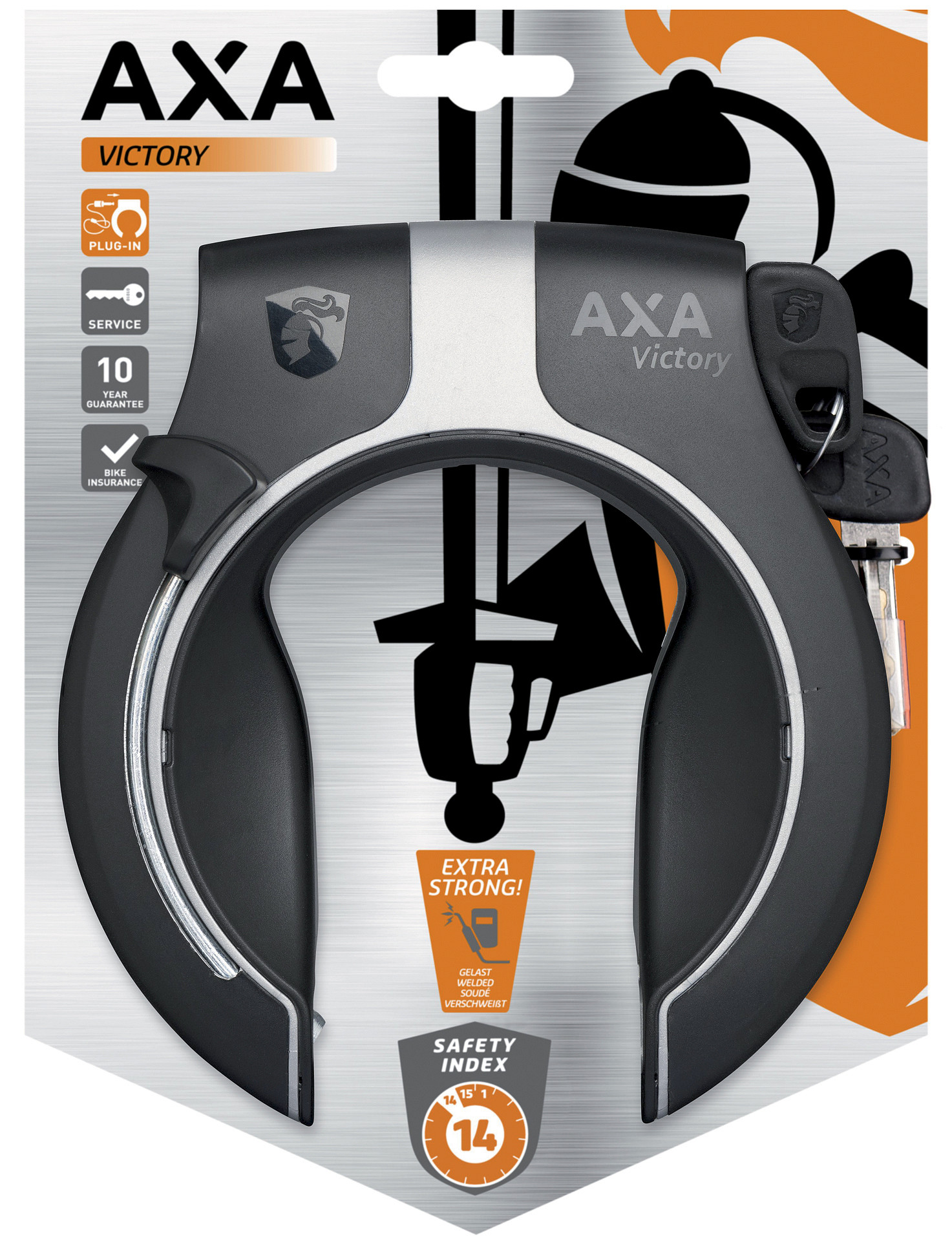Axa Ringslot Victory grijs/zwart