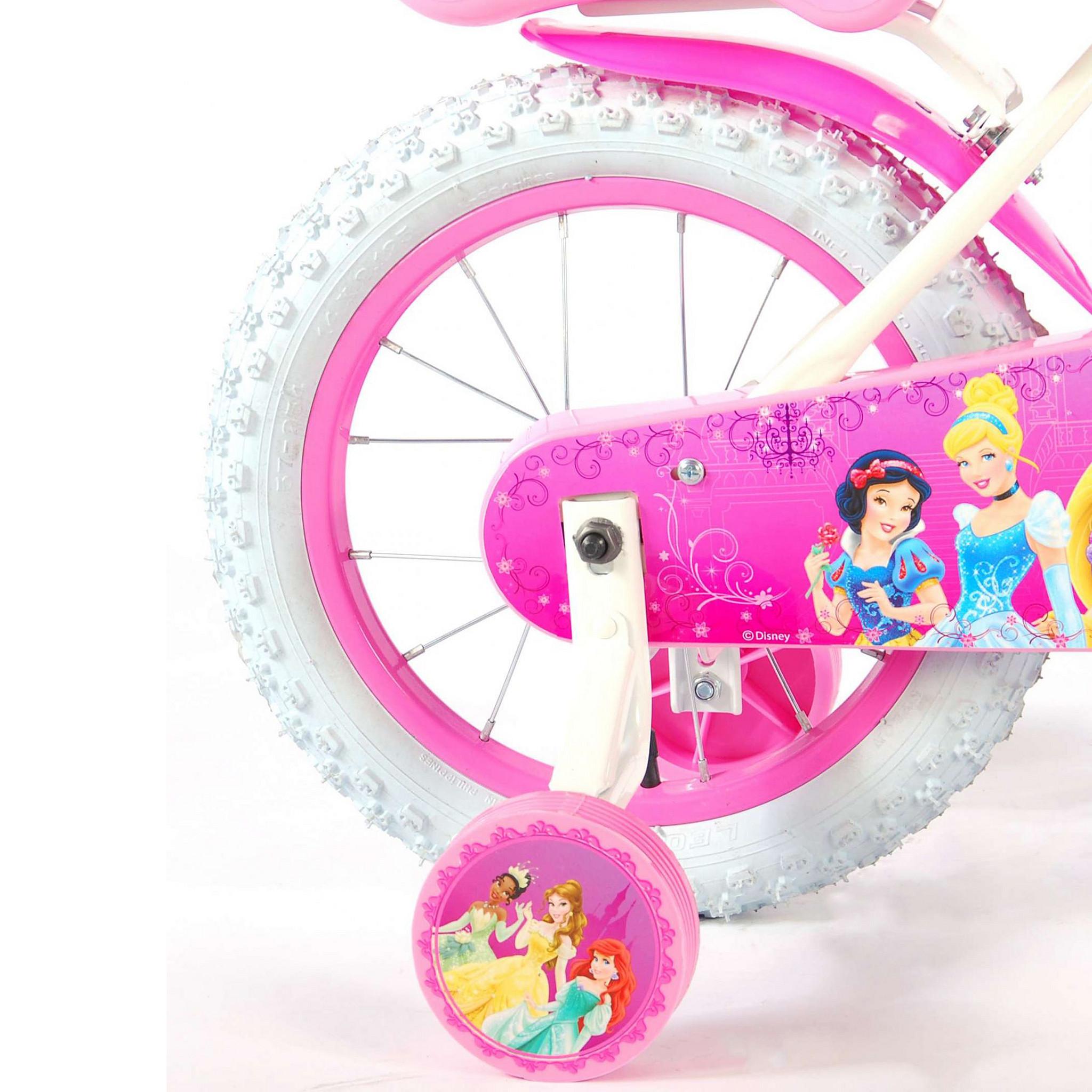 "Disney princess Kinderfiets Princess 14"" wit/roze Roze"