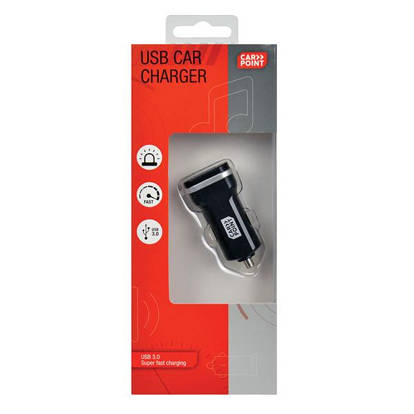 Carpoint autolader USB enkel 12-24 Volt zwart