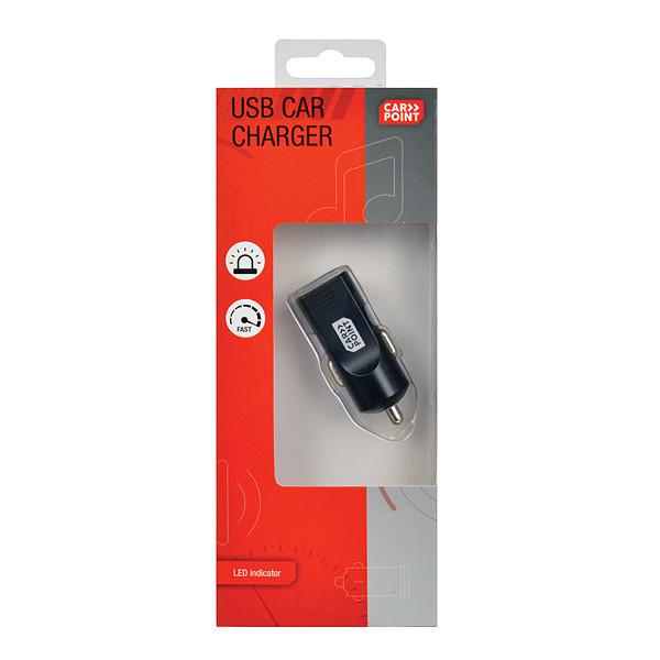 Carpoint autolader USB 12-24 Volt 2,4 Ampère kunststof zwart