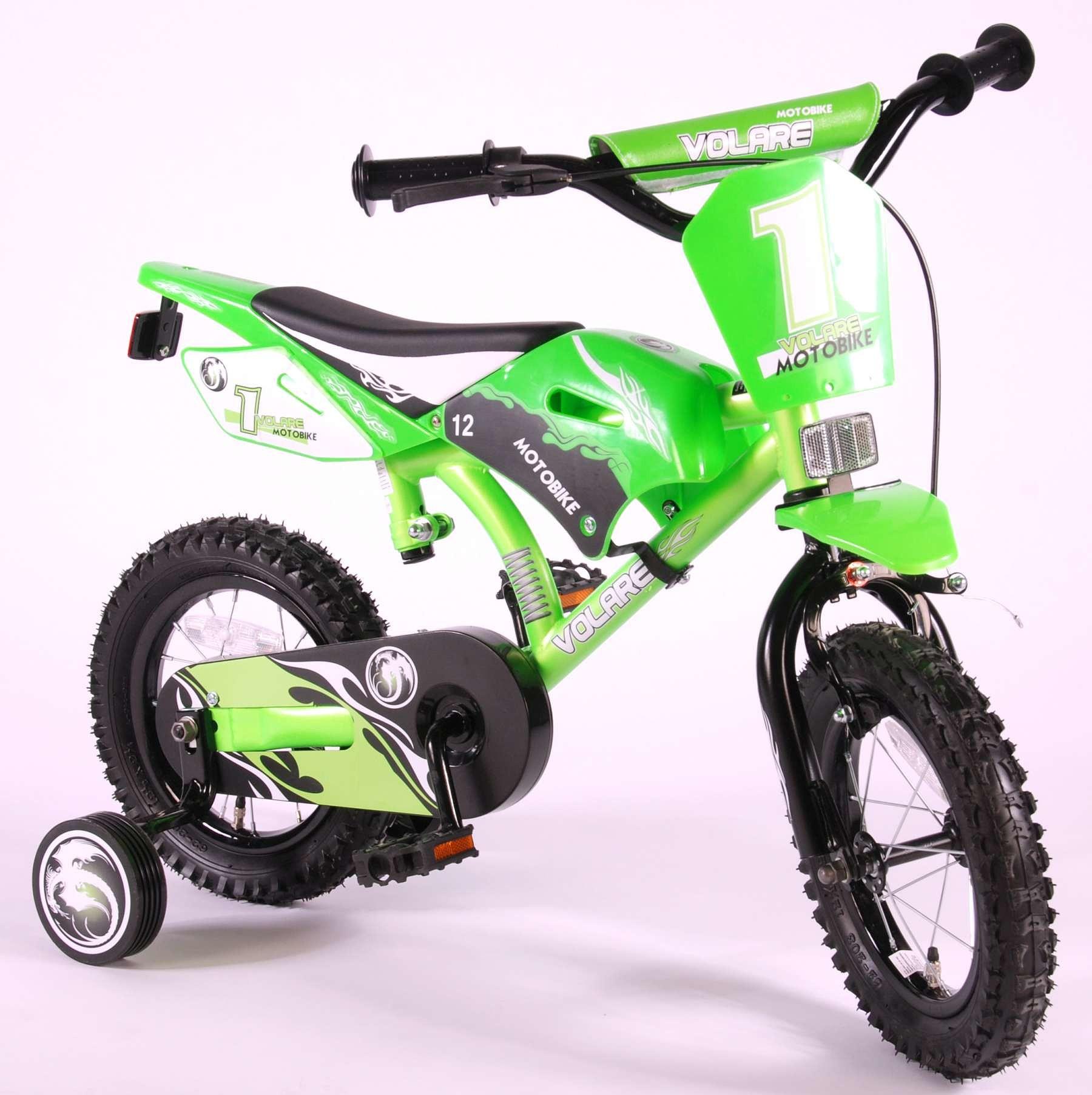 """Volare Kinderfiets Motobike 12"""" Groen Groen Groen"""