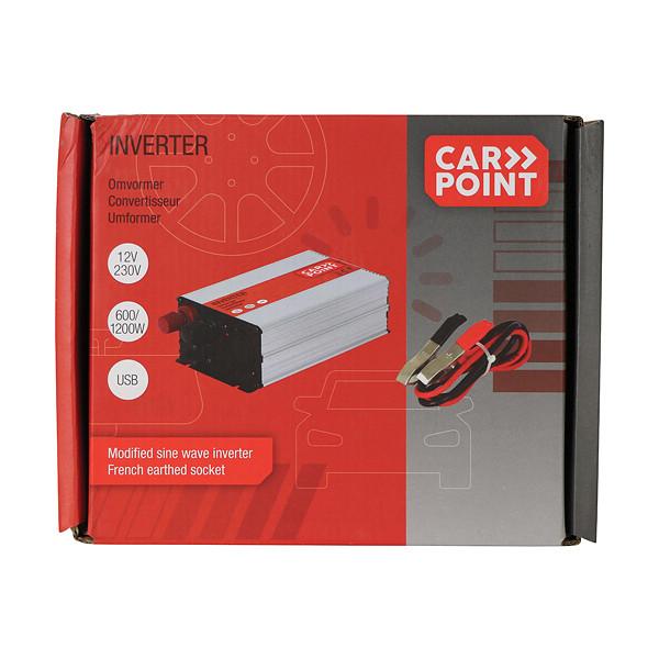 Carpoint Omvormer 12V>230V 600W accuklemmen Frans-Belgisch stopcontact