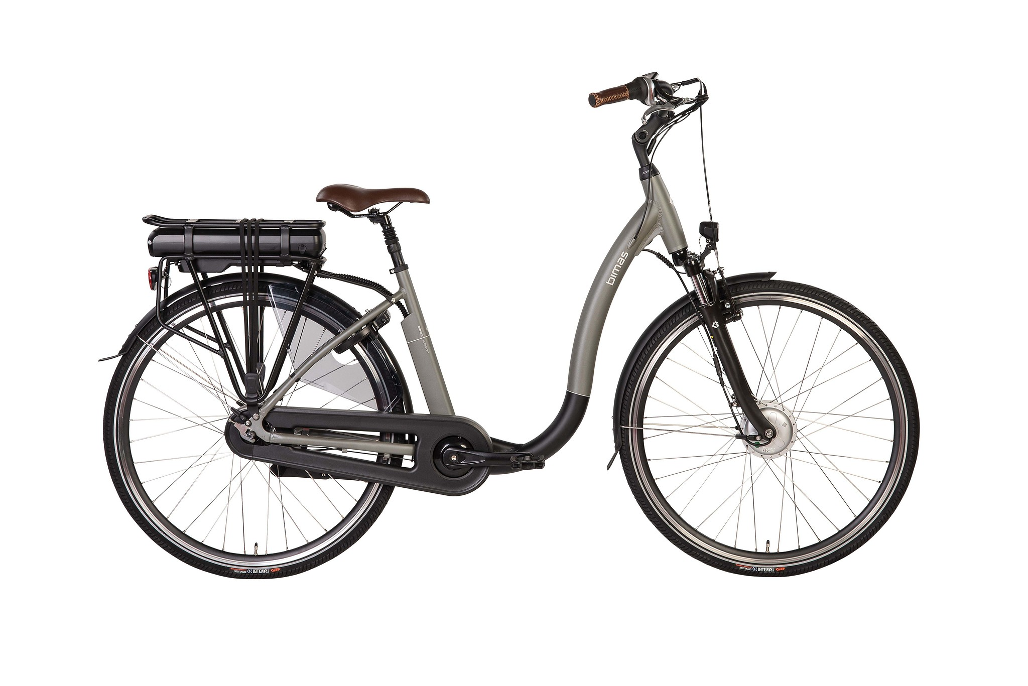 Bimas Elektrische fiets E-Comfort dames grijs 46cm 450 Watt Grijs