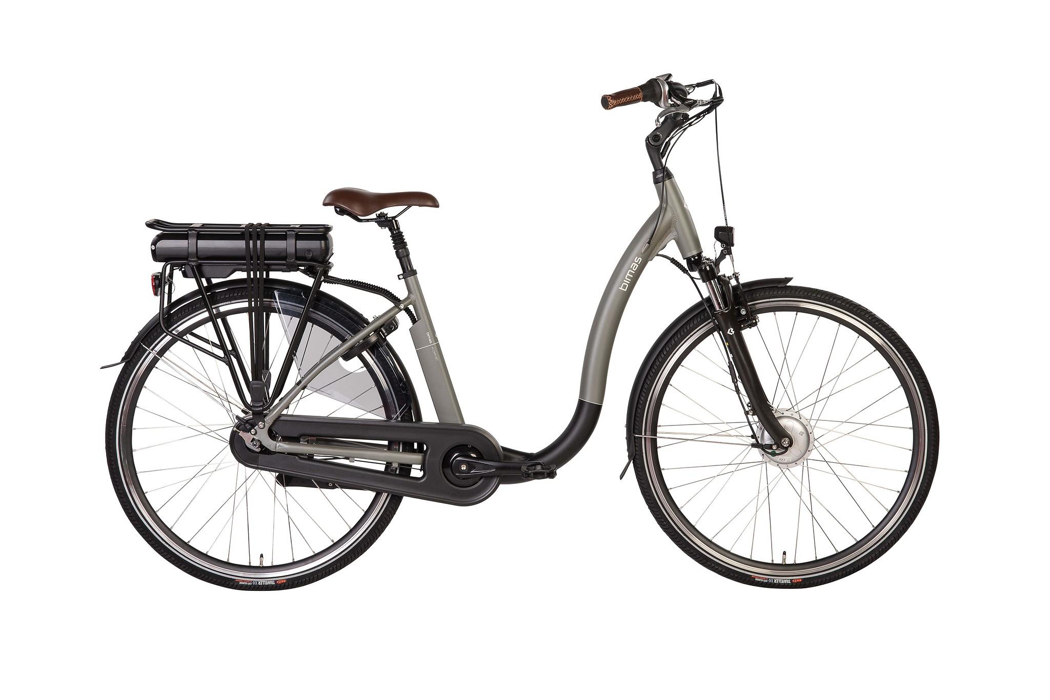 Bimas Elektrische fiets E-Comfort dames grijs 54cm 450 Watt Grijs