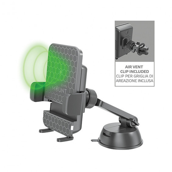 Celly Mount Wireless Charge Car Holder Zwart CELLY WIRELESS AUTO TEL.HOUDER