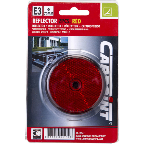 Carpoint Reflector Rond Rood REFLECTORS ROOD 70MM