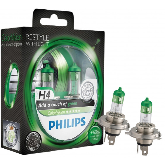 Philips Autolampen ColorVision H4 groen PHILIPS COLORVISION H4 GROEN