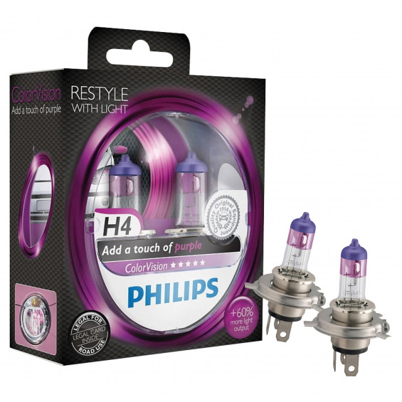 Philips Autolampen Colorvision H4 Paars PHILIPS COLORVISION H4 PAARS