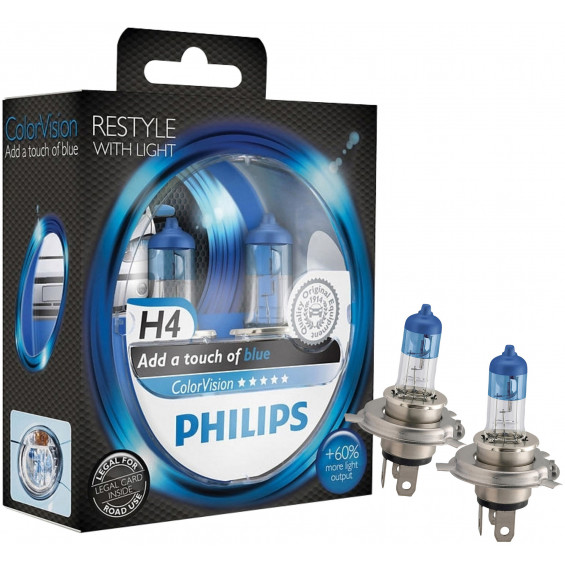 Philips Autolampen Colorvision H4 Blauw PHILIPS COLORVISION H4 BLAUW