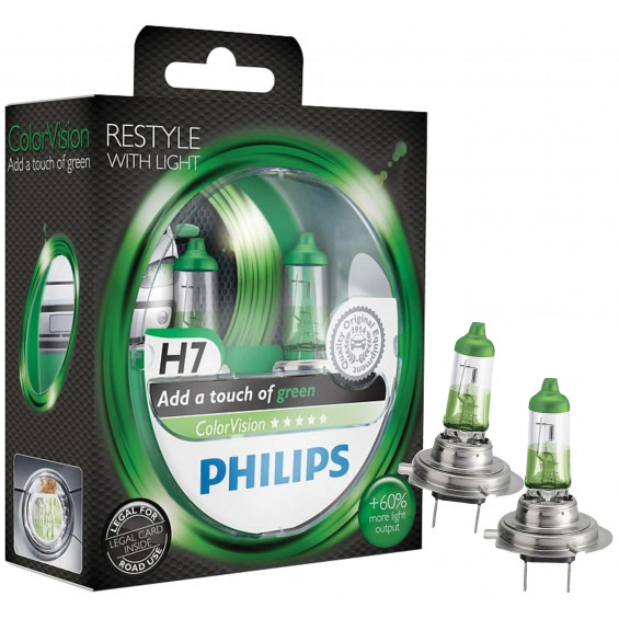 Philips Autolampen Colorvision H7 Groen PHILIPS COLORVISION H7 GROEN