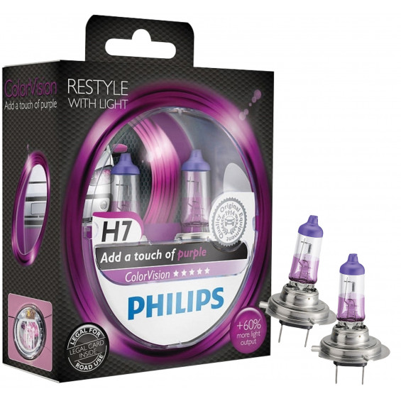 Philips Autolampen Colorvision H7 Paars PHILIPS COLORVISION H7 PAARS