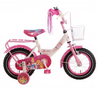 "Disney Kinderfiets Princess 12""  wit/roze DISNEY PRINCESS 12""  WI/ROZE"
