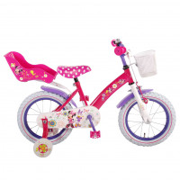 "Disney Kinderfiets Minnie Bow- Tique 14""  roze/wit DISNEY MINNIE BOW TIQUE 14""  ROZE/W"