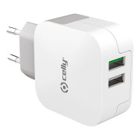 Celly Thuislader 2 USB 3.4A Wit CELLY THUISLADER 2 USB 3.4A WIT