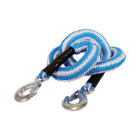 Jumbo Sleepkabel stretch 2500kg Blauw-Wit met 2 haken JUMBO SLEEPKABEL STRETCH ORANJE/WIT